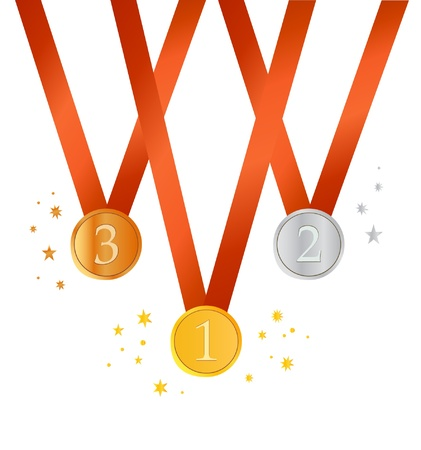 Set of medals. Gold, silver and bronze medals