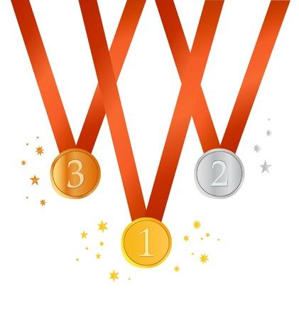 Set van medailles. Goud, zilver en bronzen medailles Stock Illustratie
