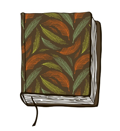 diary cover design: illustration with hand drown brown cover. Can use for passport cover, notebook cover, diary cover, phone cover. Sketch of book Illustration