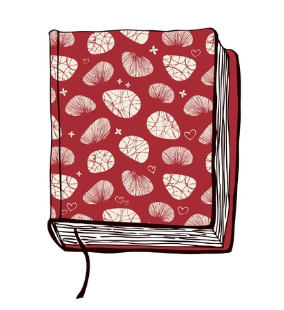 illustration with hand drown red cover. Can use for passport cover, notebook cover, diary cover, phone cover. Sketch of book Vector