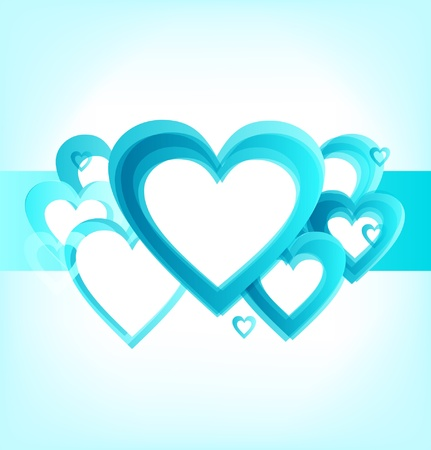 Banner with romantic hearts stripe  Cute turquoise cards with place for your text