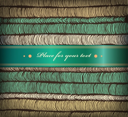 satiny: Banner with rows hand-drawn horizontal folds and satiny ribbon with place for your text  Surface texture