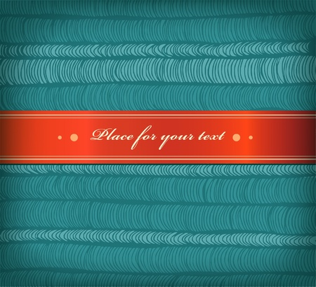 satiny: Card with rows hand-drawn horizontal folds and red satiny ribbon with place for your text  Surface texture
