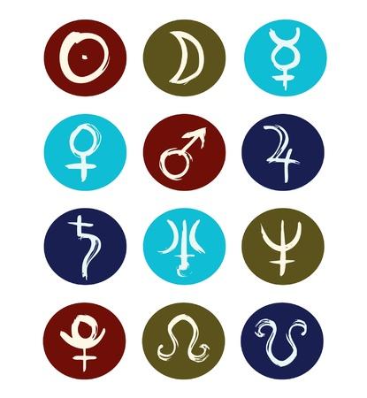 zodiak: Hand drawn signs of planet symbols set of icons