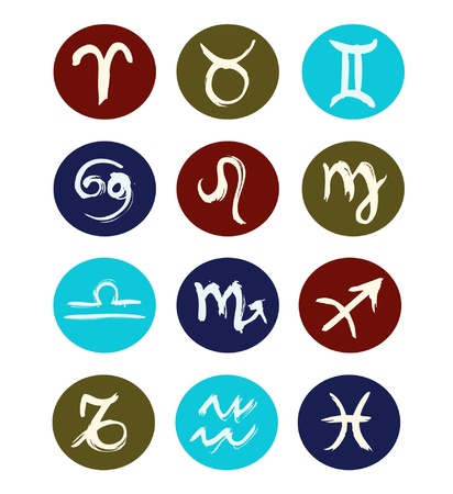 Hand drawn signs of zodiac sorted by order   set of zodiac icons