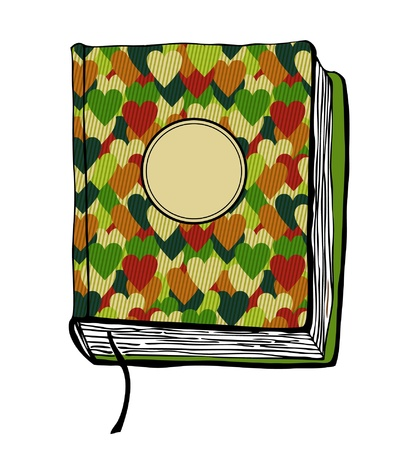 banding: Sketch of book with hearts and frame for title illustration with hand drawn cover