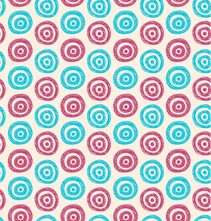 abstract background  Seamless blue and pink hand drawn pattern with circles  Can be used for wallpaper, pattern fills, web page background, surface textures  Stock Vector - 18276773