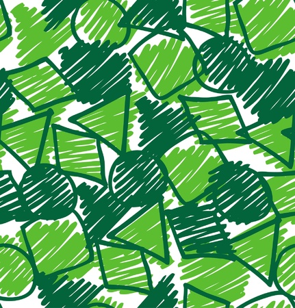 abstract background  Sketch hand drawn seamless pattern  Green endless texture with circles, squares and others figures, Can be used for wallpaper, web page background, surface textures  Vector