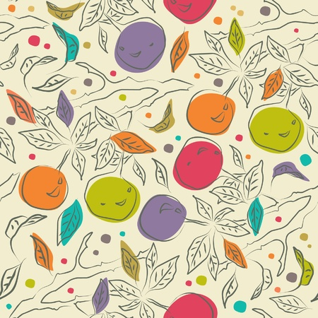 Cute floral pattern with orange branches  Decorative ornate seamless background  Beautiful fabric texture Vector