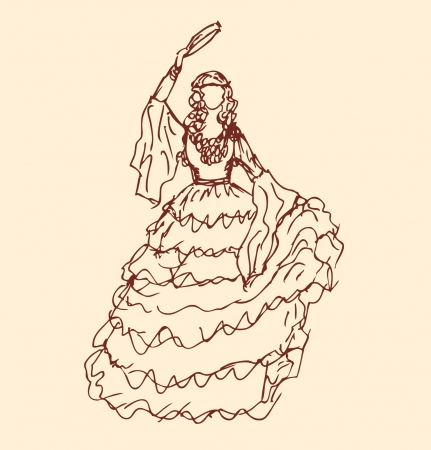 Image of dancing woman in retro clothes  Girl in vintage dress  Sketchy woman silhouette  Gypsy  Romany Vector