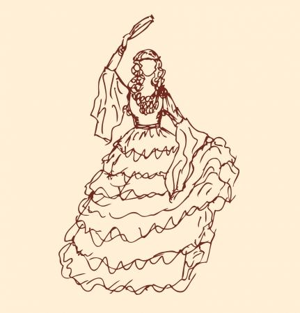 traditional dance: Immagine di ballo donna in abiti retr� ragazza in abito vintage Sketchy silhouette donna zingara rom Vettoriali