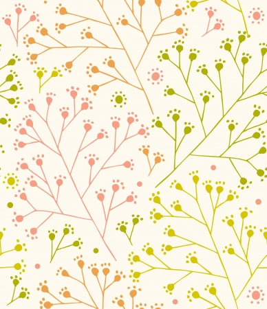 Lace country seamless pattern  Branches cute ornamental template  Rural floral background  Rustic fabric texture