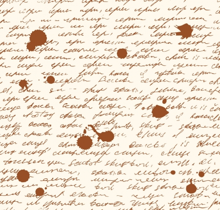 old diary: Letter endless pattern  Script with dots of ink  Seamless grunge background  Sketch of writing template