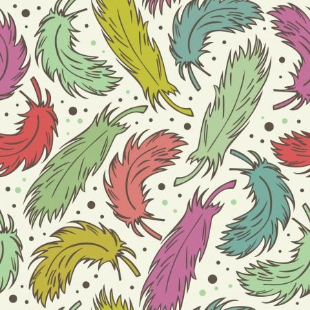 Naadloze cute achtergrond met pluimen Decoratief romantische patroon met veren Endless retro stof textuur Stock Illustratie