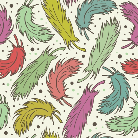 Seamless cute background with plumes  Decorative romantic pattern with feathers  Endless retro fabric texture