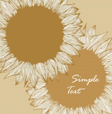 Vintage floral achtergrond met zonnebloemen Retro-stijl getekende kaart met bloemen Stock Illustratie