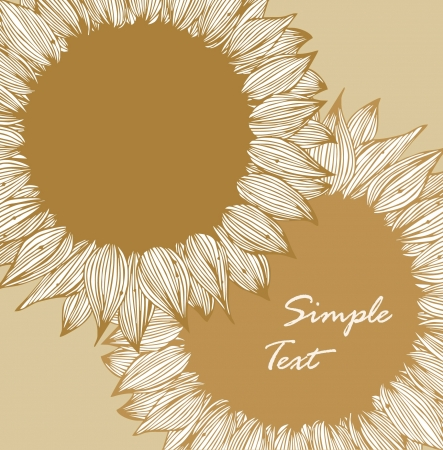 Vintage floral background with sunflowers  Retro style drawn card with flowers Vector