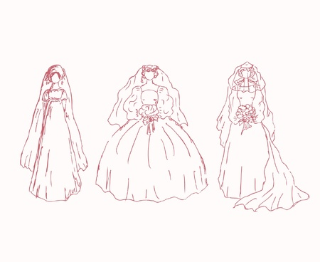 dress sketch: Sketchy collection of brides  Ladies in wedding dresses  Hand drawn modern women silhouettes