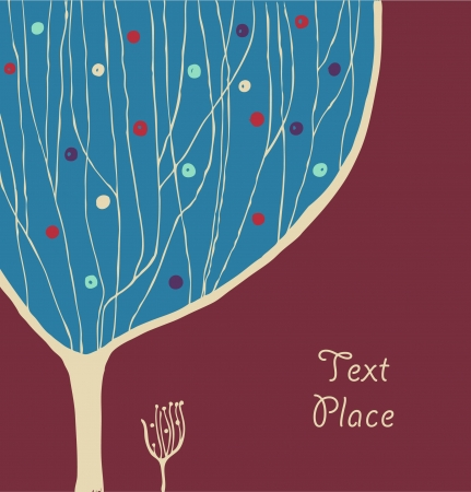 Hand drawn banner with decorative branches tree and place for text. Autumn background with tree