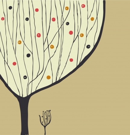 Hand drawn decorative tree. Tree silhouette. Can be printed on cups, bags, souvenirs  Vector