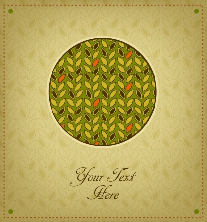 Vintage cute greeting card. Floral background in the circle is complete and seamless. Abstract elements for design with place for text  Vector