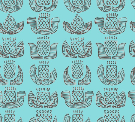 indigen: Contour ethnic pattern with different flowers, buds and leafs. Endless background with ornamental native elements. Hand drawn outline stylish texture for prints, covers, clothes, souvenirs