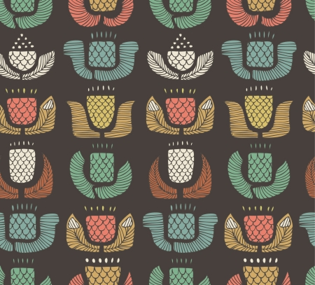 indigen: Ethnic pattern with different flowers, buds and leafs. Endless background with set of ornamental native elements. Hand drawn stylish texture for prints, covers, clothes, souvenirs  Illustration