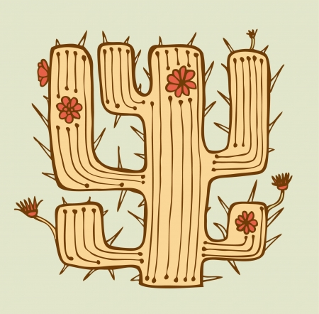 vegetate: Isolated hand drawn cactus with flowers and thorns. Native element. Plant of desert. Can be used for print on pocket, cup, souvenir, bag template, clothes  Illustration