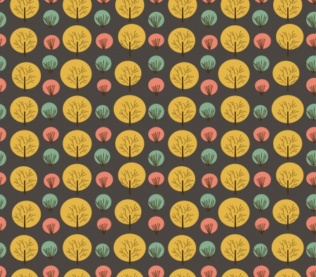 Seamless autumn pattern with trees and bushes. Endless background hand drawn texture for wallpaper, wrapper, cover, crafts, clothes, art Stock Vector - 18371897