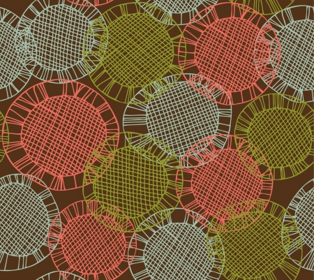lace like: Seamless background with hand drawn circles. Endless decorative pattern looks like crocheting handmade lace. netting texture Illustration