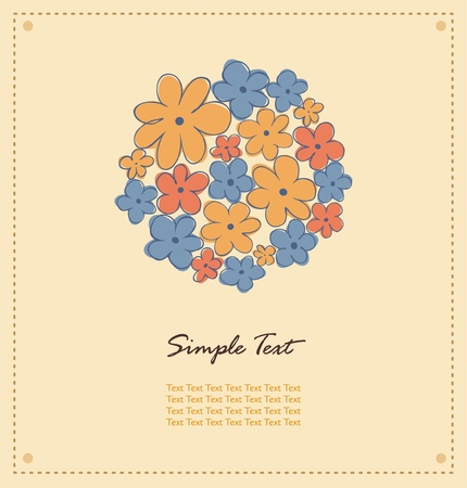 Romantic decorative greeting card with ornamental fantasy flowers and text frame  Decorative floral card with place for your text  Banner can be used for wedding cards, gifts, postcards, invitations  Vector