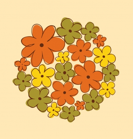 Round bunch of flowers  Flowers bouquet  Can be used for greeting and wedding cards, gifts, postcards, invitations, arts  Round shape made from flowers Vector
