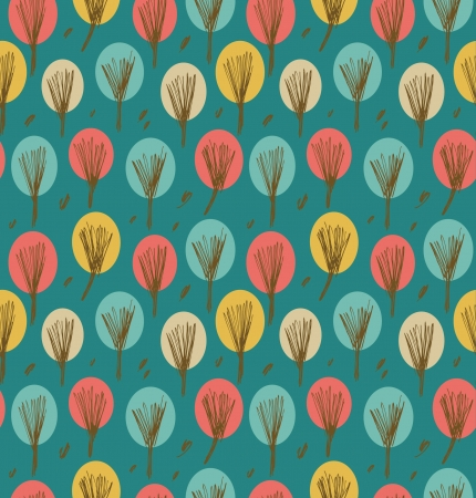 Endless emerald autumn pattern with trees  Background with decorative landscape