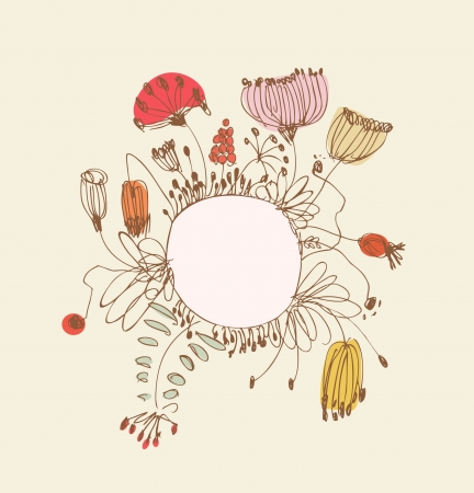 Hand drawn banner with round frame and place for your text  Vintage lace greeting card with country flowers and berries  Can be used for print on notebook, card, invitation  Vector