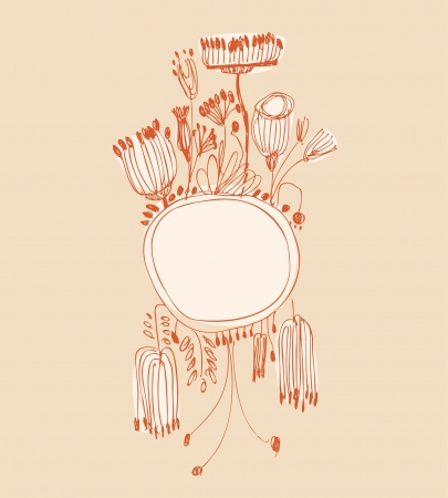Hand drawn orange vertical banner with round frame and place for your text  Vintage lace greeting card with country flowers and berries  Can be used for print on notebook, card, invitation  Vector