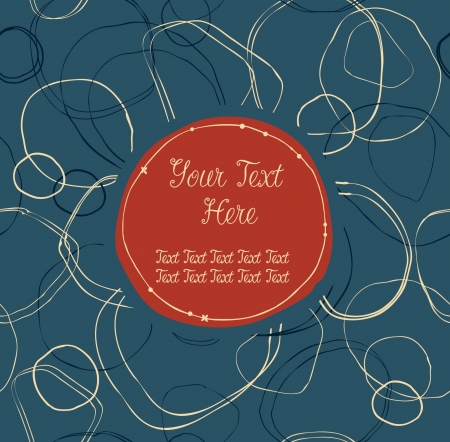 Blue and red ornate seamless banner with hand-drawn circles and place for text  Can use for arts, gifts, greeting cards, postcards, notebooks  Vector