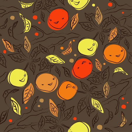 Dark cute seamless pattern with orange branches  Decorative monochrome doodle background  Endless floral pattern can be used for wallpaper, pattern fills, web page background, surface textures  Vector