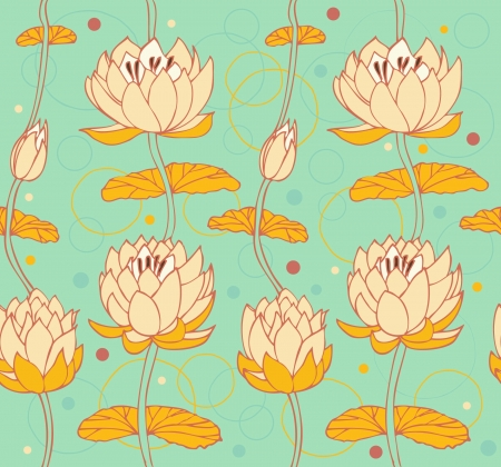 aquatic plant: Lotus background  Floral pattern with water lilies  Seamless nenuphar backdrop can be used for greeting cards, arts, wallpapers, web pages, surface texture, clothes, prints