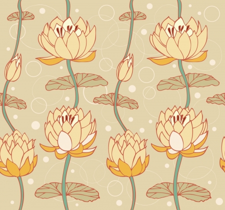 Lotus bright background  Floral pattern with water lilies  Seamless cute backdrop can be used for greeting cards, arts, wallpapers, web pages, surface texture, clothes, prints  Vector
