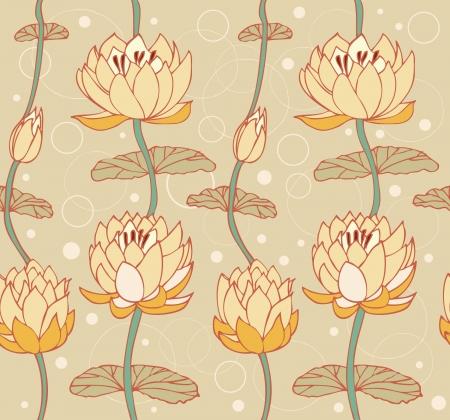 water lilies: Lotus patr�n brillante fondo floral con el tel�n de fondo Seamless lindo lirios de agua se puede utilizar para las tarjetas de felicitaci�n, arte, fondos de pantalla, p�ginas web, textura superficial, ropa, estampados