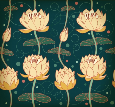 Lotus background  Floral pattern with water lilies  Seamless nenuphar cute backdrop can be used for greeting cards, postcard, arts, wallpapers, web pages, surface texture, clothes, prints, tapestry  Vector