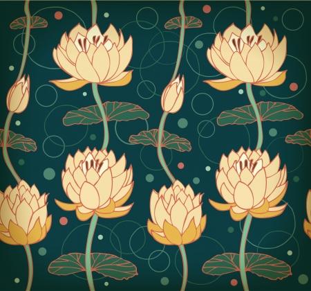 water lilies: Lotus patr�n Fondo floral con lirios de agua tel�n de fondo Seamless nenuphar lindo se puede utilizar para las tarjetas de felicitaci�n, tarjetas postales, arte, fondos de pantalla, p�ginas web, textura superficial, ropa, grabados, tapices Vectores