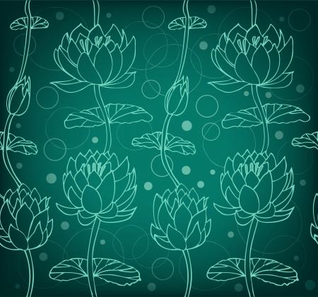 Lotus silhouet achtergrond Donker bloemenpatroon met waterlelies Naadloze kant achtergrond kan worden gebruikt voor wenskaarten, kunst, achtergronden, webpagina's, oppervlaktestructuur, kleding, prenten
