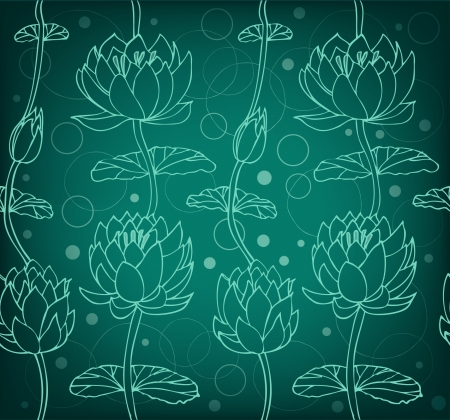 Lotus silhouette background  Dark floral pattern with water lilies  Seamless lace backdrop can be used for greeting cards, arts, wallpapers, web pages, surface texture, clothes, prints  Illustration