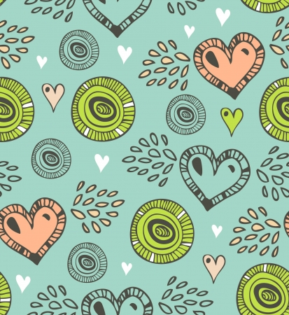 Seamless pattern with various hearts and circles vintage background with many details for greeting cards, gifts, arts, invitations
