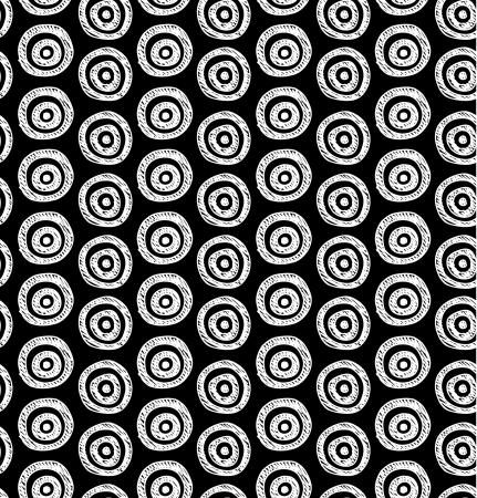 achtergrond Naadloze zwart-witte hand getrokken cirkels patroon kan worden gebruikt voor behang, patroon vult, webpagina achtergrond, oppervlaktestructuren Stock Illustratie