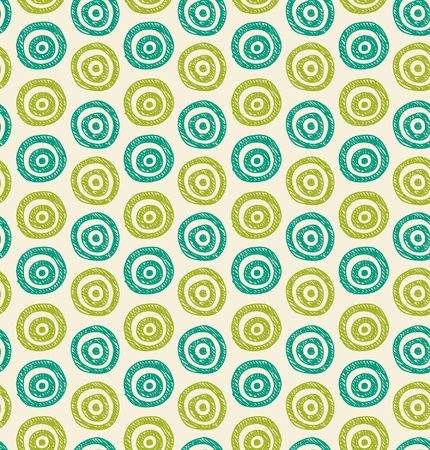 abstract background. Seamless green hand drawn circles pattern. Can be used for wallpaper, pattern fills, web page background, surface textures  Vector