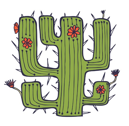 Isolated drawn cactus with flowers and thorns. Stylish african element. Plant of desert. Can be used for print on pocket, cup, souvenir, bag template, clothes  Vector