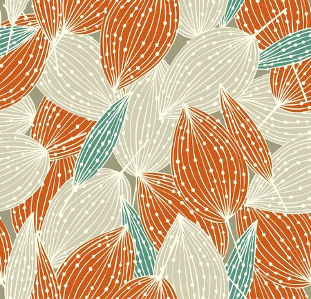 Orange floral seamless pattern  Autumn linear endless background with leaves  Decorative leaves with dots  Can be used for cards, crafts, covers, clothes, gifts, wallpapers, web pages texture