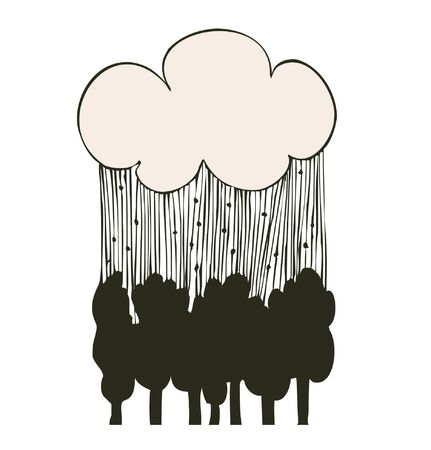 linear rain clouds over the trees  Decorative silhouette landscape  Vector